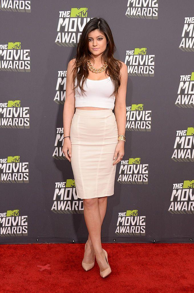 <p>Jenner wore a cream outfit. </p>