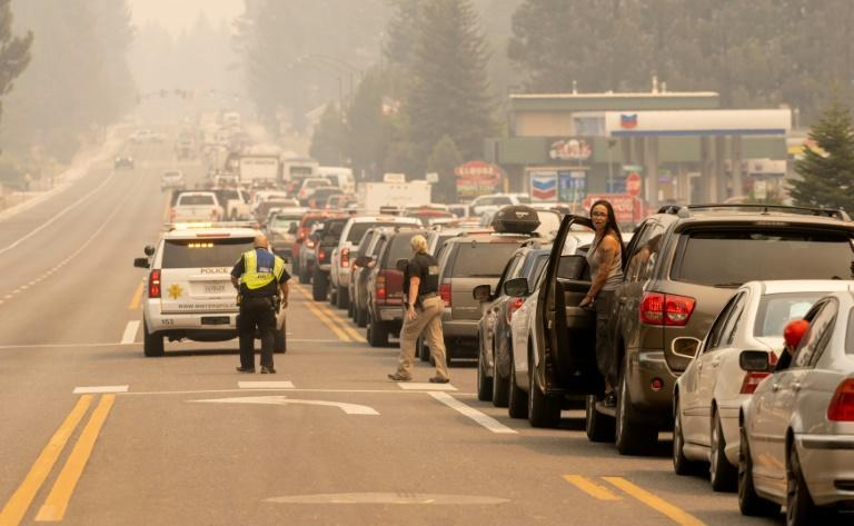 Roads out of South lake Tahoe are clogged as thousands of the city's residents heed orders to flee the approaching Caldor Fire (AFP/JOSH EDELSON)