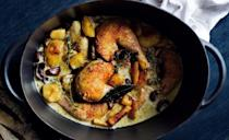 "This recipe calls for a flambé, which isn't just fun; it adds extra flavor. <a href=""https://www.bonappetit.com/recipe/poulet-vallee-dauge?mbid=synd_yahoo_rss"" rel=""nofollow noopener"" target=""_blank"" data-ylk=""slk:See recipe."" class=""link rapid-noclick-resp"">See recipe.</a>"