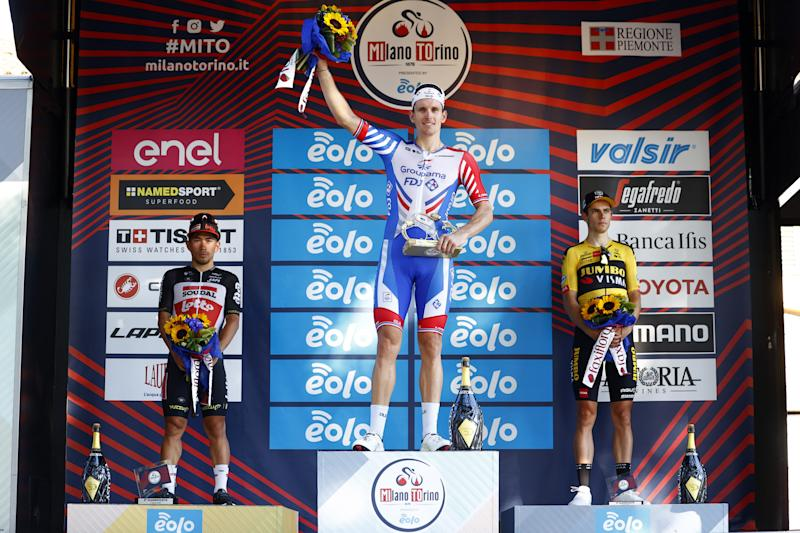 Arnaud Demare takes top step of podium at Milano-Torino 2020 with Caleb Ewan second and Wout van Aert third