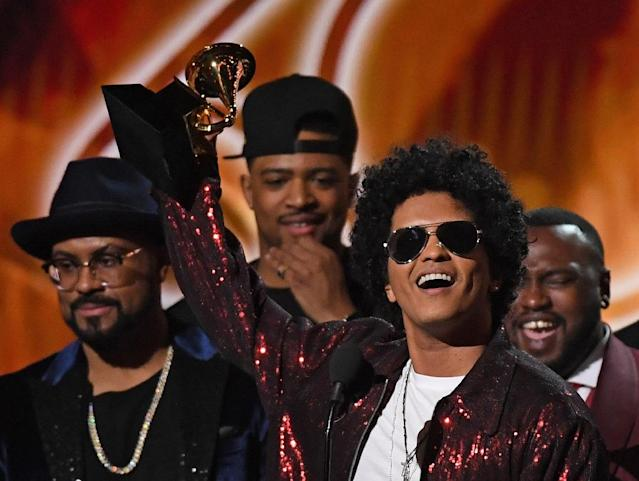 Bruno Mars won six Grammys overall — a clean sweep of his six nominations at the 60th annual Grammy Awards at Madison Square Garden on Sunday, Jan. 28, 2018 in New York City. (AFP Photo/Timothy A. CLARY )