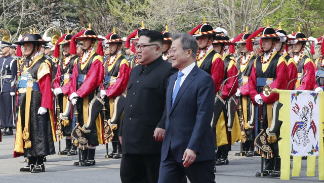 <em>Historic – Kim Jong-un reportedly joked that he would stop disturbing the South Korean President's sleep with missile tests (Picture: AP)</em>