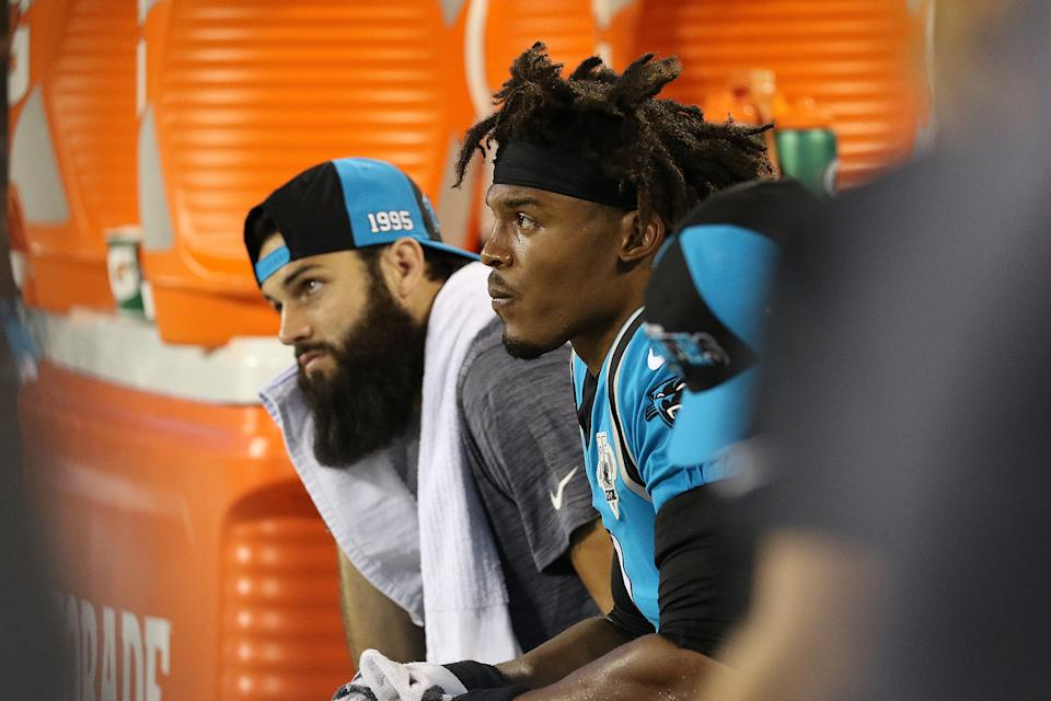 CHARLOTTE, NC - SEPTEMBER 12: Cam Newton (1) quarterback of Carolina during a NFL football game between the Tampa Bay Buccaneers and the Carolina Panthers on September 12, 2019, at Bank of America Stadium in Charlotte, N.C. (Photo by John Byrum/Icon Sportswire via Getty Images)