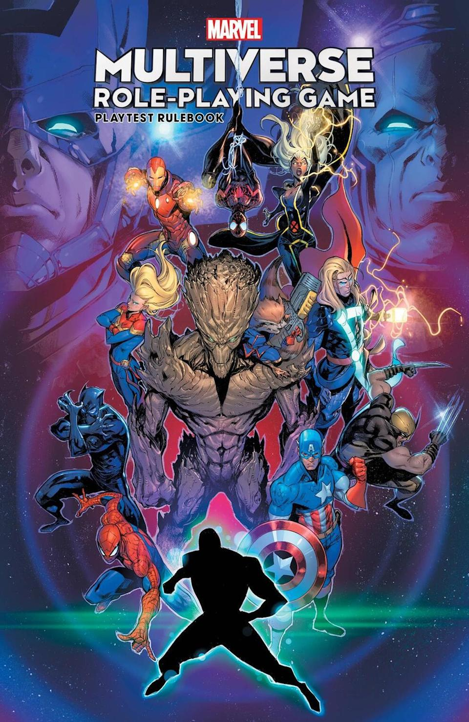 Illustration of various Marvel characters standing together against a swirly purple backdrop