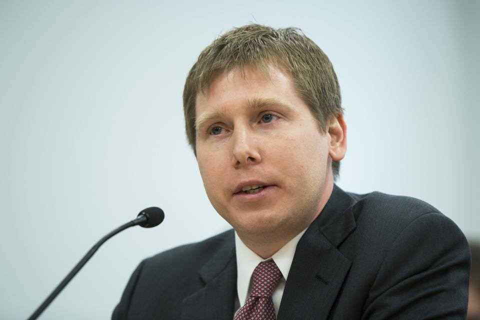 Barry Silbert, CEO of Grayscale Investments, speaks at an NYDFS virtual currency hearing in New York on January 28, 2014. (REUTERS/Lucas Jackson)