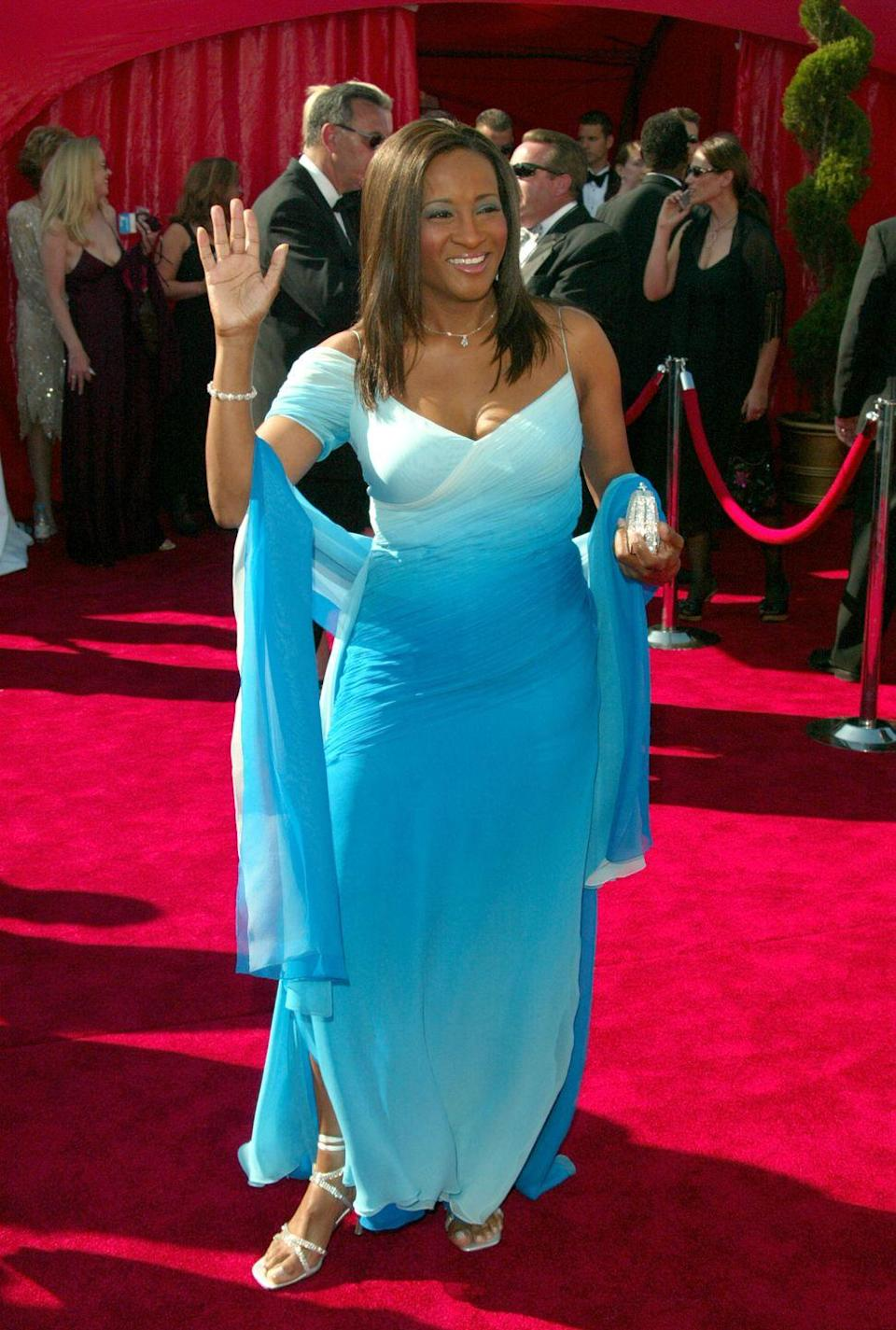 <p>This pretty aqua ombre number was a head-turner on the red carpet this year. (And, yet again, it wouldn't be the early 2000s without all the matching shawls.) </p>