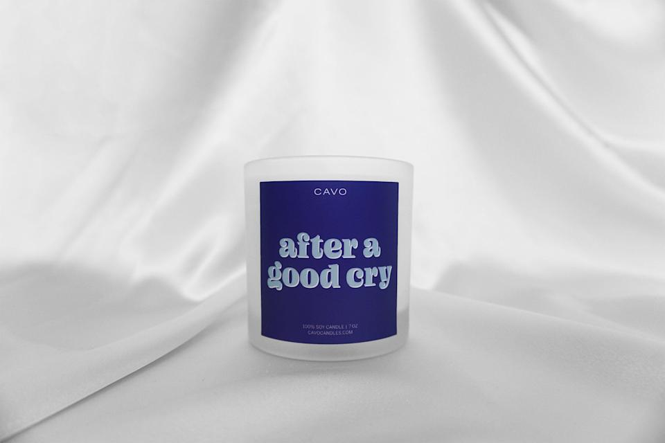 """<p>shopcavo.com</p><p><strong>$24.00</strong></p><p><a href=""""https://shopcavo.com/collections/frontpage/products/after-a-good-cry-candle"""" rel=""""nofollow noopener"""" target=""""_blank"""" data-ylk=""""slk:Shop Now"""" class=""""link rapid-noclick-resp"""">Shop Now</a></p>"""