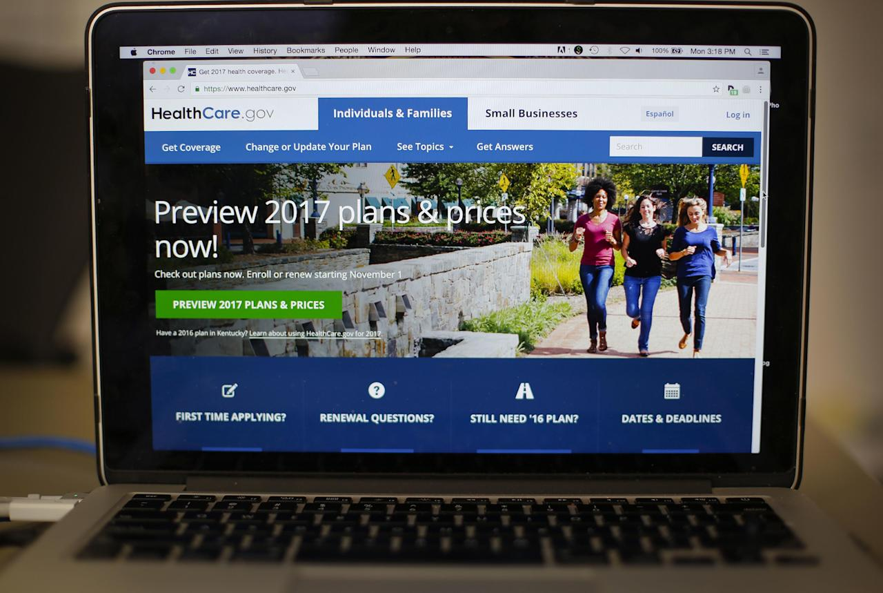 FILE - In this Oct. 24, 2016 file photo, the HealthCare.gov 2017 web site home page as seen in Washington. That Americans agree on much of anything is remarkable after a presidential race that ripped open the nation's economic, political and cultural divisions unlike any contest before it. But on the brink of the Trump presidency, a new poll finds that there's clear accord across those divisions on the need to do something about health care in the United States. More than four-in-10 Republicans, Democrats and independents say health care is a top issue facing the country, The Associated Press-NORC Center for Public Affairs Research poll showed. (AP Photo/Pablo Martinez Monsivais)
