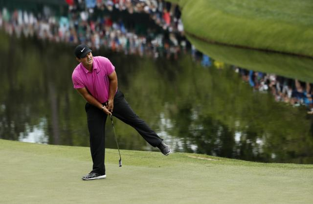 Patrick Reed of the U.S. reacts to missing a birdie putt on the 16th hole during final round play of the 2018 Masters golf tournament at the Augusta National Golf Club in Augusta, Georgia, U.S. April 8, 2018. REUTERS/Jonathan Ernst