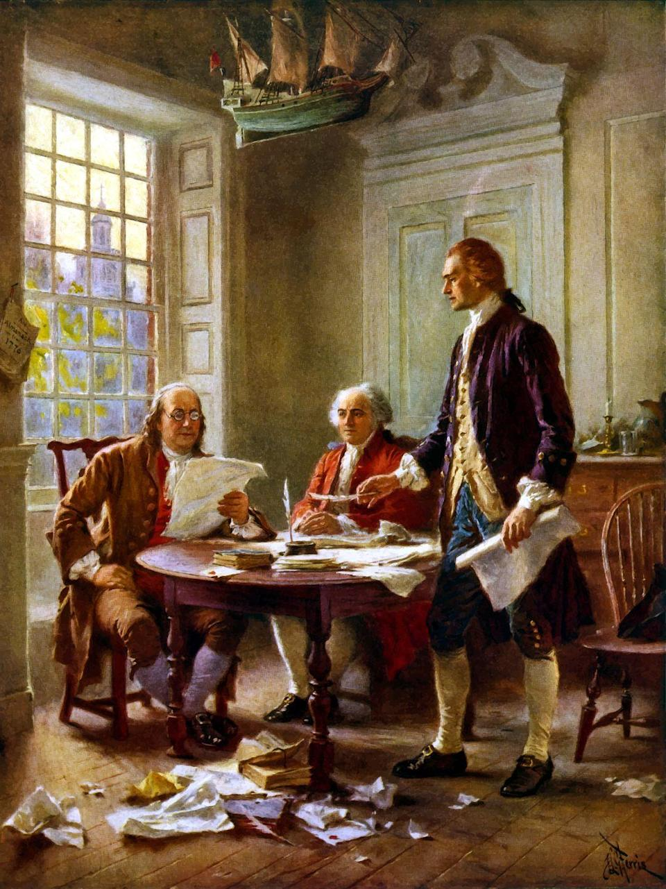 """<p>On July 4, 1826, 50 years after the Declaration of Independence was finalized, former U.S. presidents <a href=""""https://constitutioncenter.org/blog/three-presidents-die-on-july-4th-just-a-coincidence"""" rel=""""nofollow noopener"""" target=""""_blank"""" data-ylk=""""slk:Thomas Jefferson and John Adams reportedly died"""" class=""""link rapid-noclick-resp"""">Thomas Jefferson and John Adams reportedly died</a> just hours apart. Exactly five years later, James Monroe reportedly became the third U.S. president to die on the 4th of July. <br></p>"""