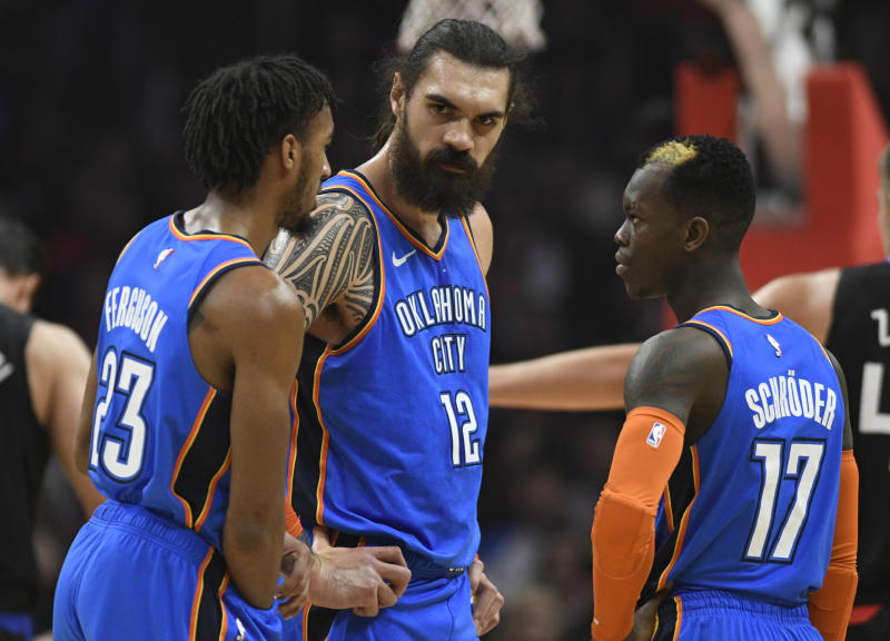 LOS ANGELES, CA - MARCH 08: Terrance Ferguson #23, Steven Adams #12 and Dennis Schroder #17 of the Oklahoma City Thunder have a conversation while playing the Los Angeles Clippers at Staples Center on March 8, 2019 in Los Angeles, California. NOTE TO USER: User expressly acknowledges and agrees that, by downloading and or using this photograph, User is consenting to the terms and conditions of the Getty Images License Agreement.(Photo by John McCoy/Getty Images)