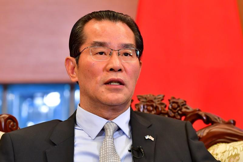 China's ambassador to Norway Gui Congyou speaks in Stockholm