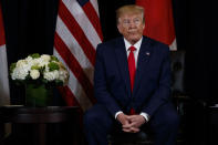 President Donald Trump listens during a meeting with Japanese Prime Minister Shinzo Abe at the InterContinental Barclay New York hotel during the United Nations General Assembly, Wednesday, Sept. 25, 2019, in New York. (AP Photo/Evan Vucci)