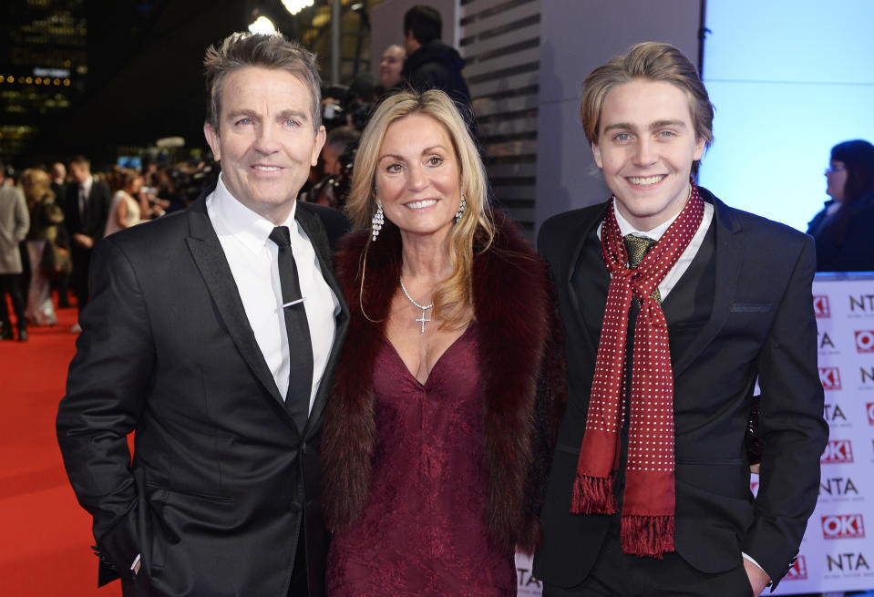 LONDON, ENGLAND - JANUARY 21: (L to R) Bradley Walsh, Donna Derby and Barney Walsh attend the National Television Awards at 02 Arena on January 21, 2015 in London, England. (Photo by David M. Benett/Getty Images)