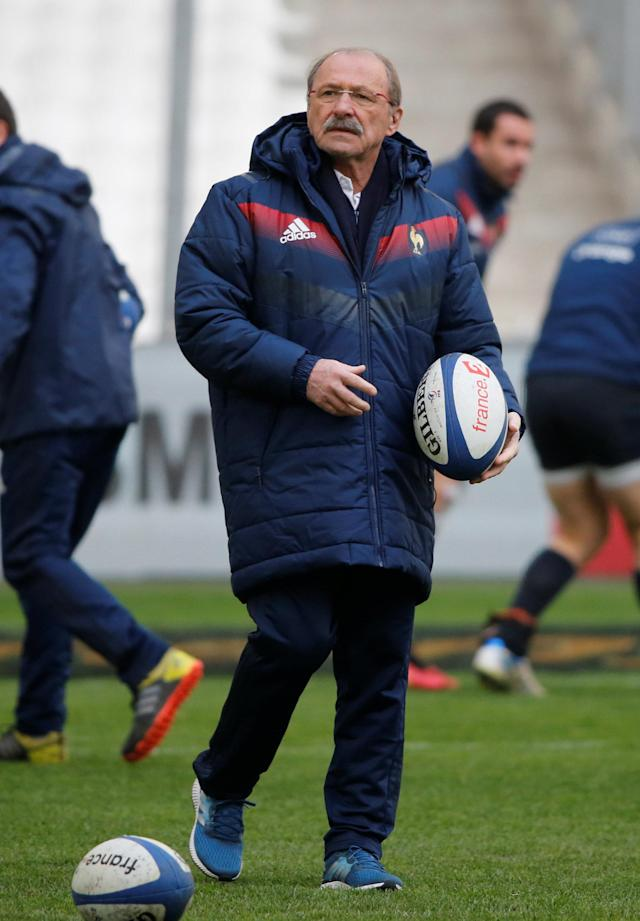 Rugby Union - France Captain's Run - Orange Velodrome, Marseille, France - February 22, 2018 France head coach Jacques Brunel during the captain's run REUTERS/Jean-Paul Pelissier