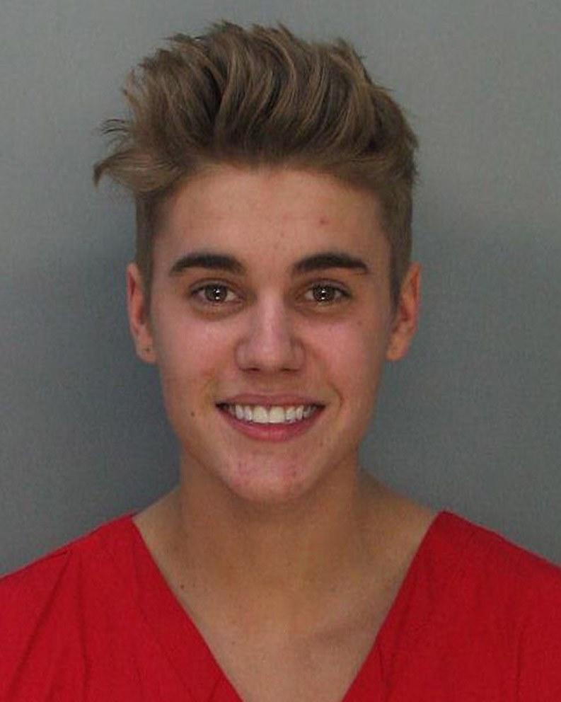 Bieber's cheery mug shot, taken shortly after he was charged with drunk driving, resisting arrest, and driving without a valid license, featured a magnificent bouffant—perhaps because he'd just spent the night racing.