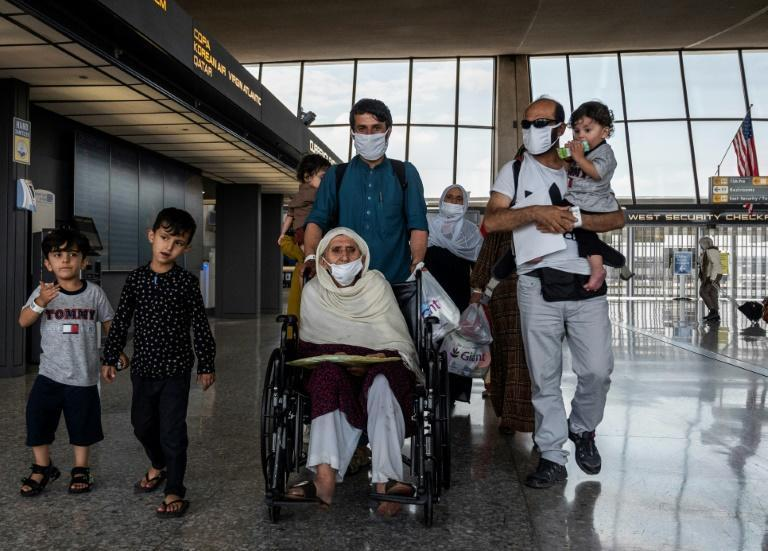 Refugees from Afghanistan arriving at Dulles International Airport in Dulles, Virginia