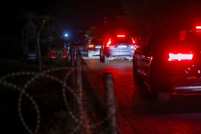 A convoy is seen entering the homestead of former South African President Jacob Zuma in Nkandla