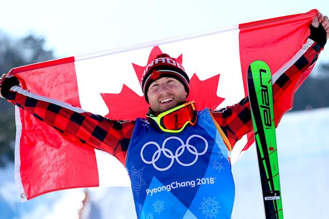 <p>Brady Leman of Canada celebrates winning the gold medal for Freestyle Skiing Men's Finals Ski Cross at the 2018 Winter Olympic Games on February 21, 2018 in PyeongChang, South Korea.<br>(Photo by Laurent Salino/Agence Zoom/Getty Images) </p>