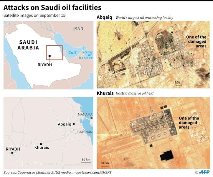 Satellite images taken on Sept 15 showing some of the damaged areas of Saudi Arabia's oil installations that were attacked by drones