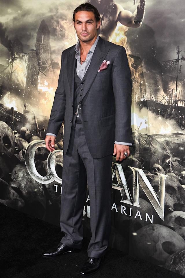 """<a href=""""http://movies.yahoo.com/movie/contributor/1809051437"""">Jason Momoa</a> at the Los Angeles premiere of <a href=""""http://movies.yahoo.com/movie/1809953260/info"""">Conan the Barbarian</a> on August 11, 2011."""