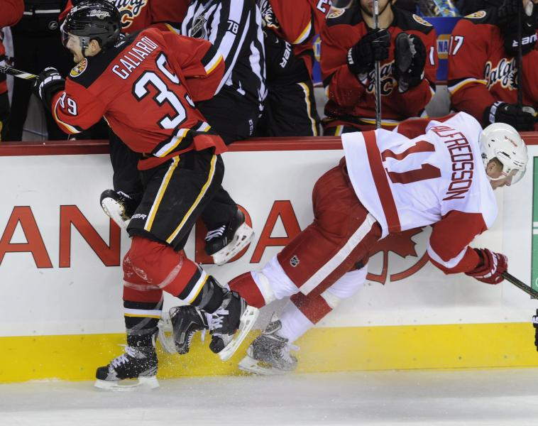 Detroit Red Wings' Daniel Alfredsson, right, from Sweden, and a referee are hit along the boards by Calgary Flames' TJ Galiardi during the second period of an NHL hockey game Friday, Nov. 1, 2013, in Calgary, Alberta. (AP Photo/The Canadian Press, Larry MacDougal)