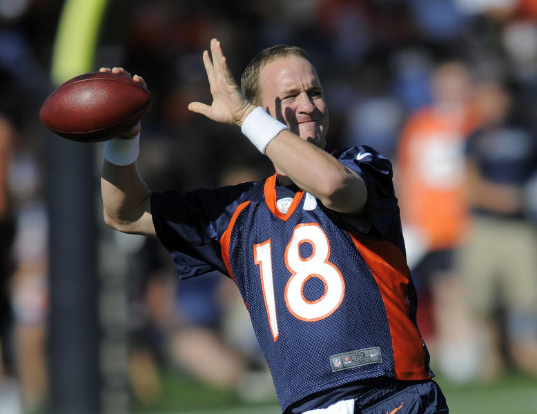 Denver Broncos quarterback Peyton Manning throws during the opening session of Denver Broncos NFL football training camp in Englewood, Colo., Thursday, July 26, 2012. (AP Photo/Jack Dempsey)