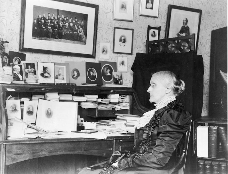 Portrait of Susan B. Anthony sitting at a desk, circa 1868. (Photo by Fotosearch/Getty Images).
