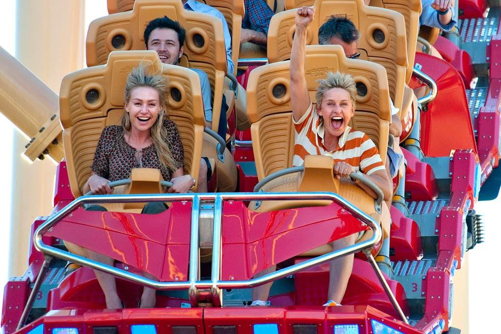 "All work and no play? Not for Ellen DeGeneres, who filmed episodes of her daytime talk show, ""The Ellen DeGeneres Show,"" at Universal Orlando last weekend. The talk show host and her wife, Portia de Rossi, were spotted taking a thrilling ride on the ""Rip Ride Rocket."" Wheeee! Kevin Kolcynski/Warner Bros - April 1, 2011"
