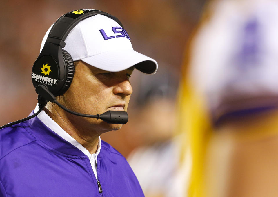 LSU head coach Les Miles walks along the sidelines during the second half of an NCAA college football game against Auburn, Saturday, Sept. 24, 2016, in Auburn, Ala. (AP Photo/Butch Dill)