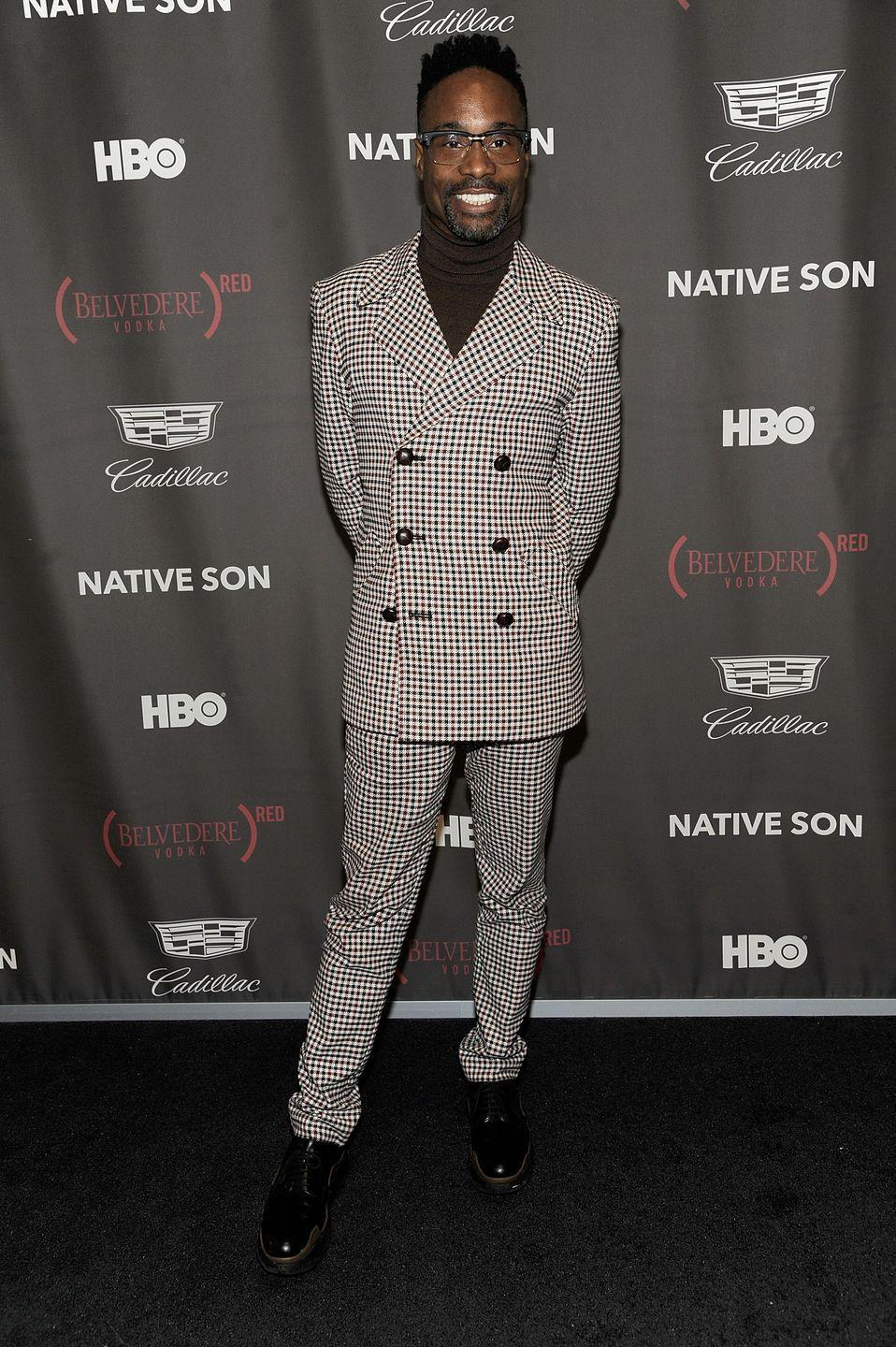 <p>Porter at the Native Son Awards in a double-breasted checkered suit and brown turtleneck. </p>