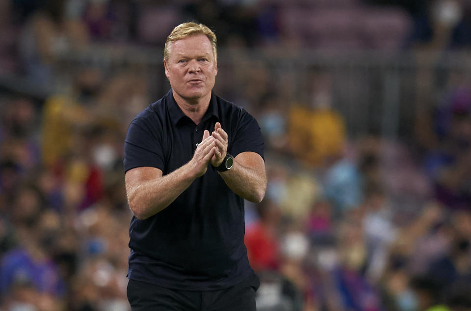 BARCELONA, SPAIN - SEPTEMBER 14: Ronald Koeman, Manager of FC Barcelona reacts during the UEFA Champions League group E match between FC Barcelona and Bayern München at Camp Nou on September 14, 2021 in Barcelona, Spain.  (Photo by Quality Sport Images/Getty Images)