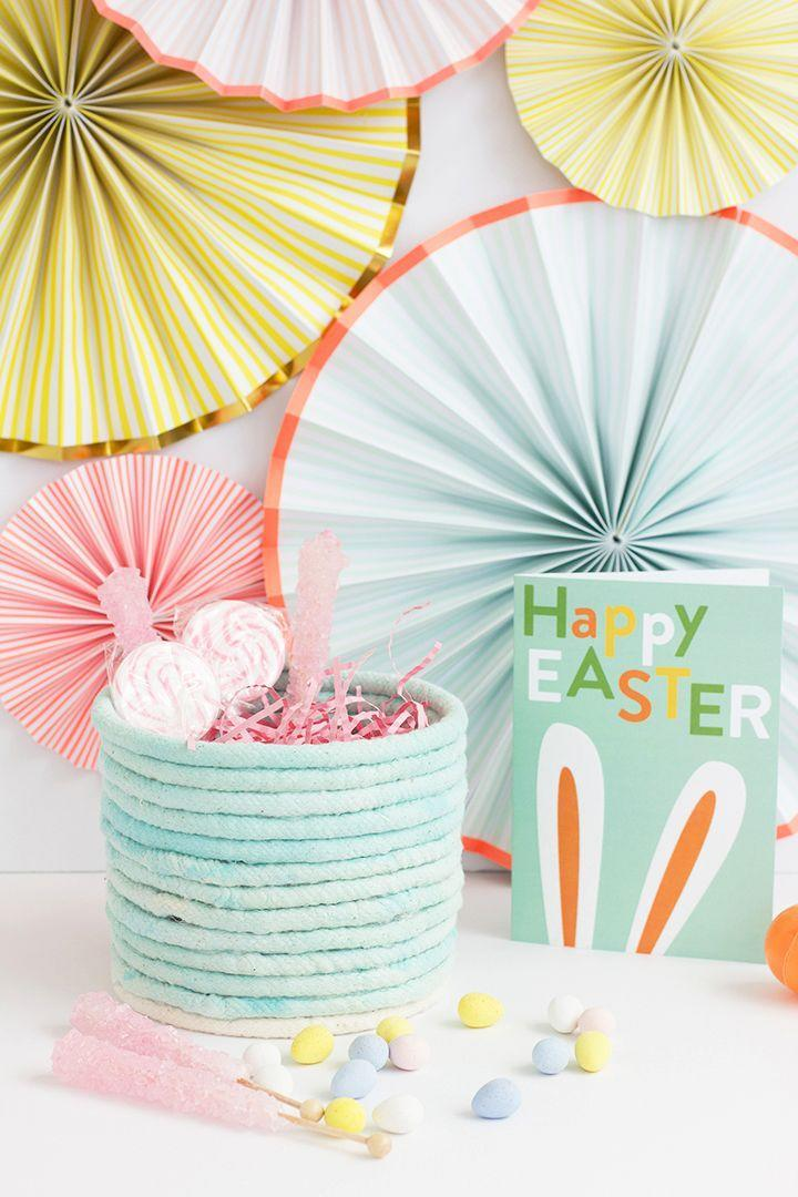 """<p>If you're going to DIY an Easter basket, you might as well make one that you can enjoy all year long. Pick a rope color that matches your space, so you can stick this storage basket on a shelf, table, or mantle once the holiday is over. </p><p><a class=""""link rapid-noclick-resp"""" href=""""https://www.amazon.com/Ravenox-Natural-Twisted-Triple-Strand-Macramé/dp/B0167TMNKW/?tag=syn-yahoo-20&ascsubtag=%5Bartid%7C10055.g.480%5Bsrc%7Cyahoo-us"""" rel=""""nofollow noopener"""" target=""""_blank"""" data-ylk=""""slk:SHOP ROPE"""">SHOP ROPE</a></p><p><em><a href=""""https://www.aliceandlois.com/diy-no-sew-rope-easter-basket/"""" rel=""""nofollow noopener"""" target=""""_blank"""" data-ylk=""""slk:Get the tutorial at Alice and Lois »"""" class=""""link rapid-noclick-resp"""">Get the tutorial at Alice and Lois »</a></em></p>"""