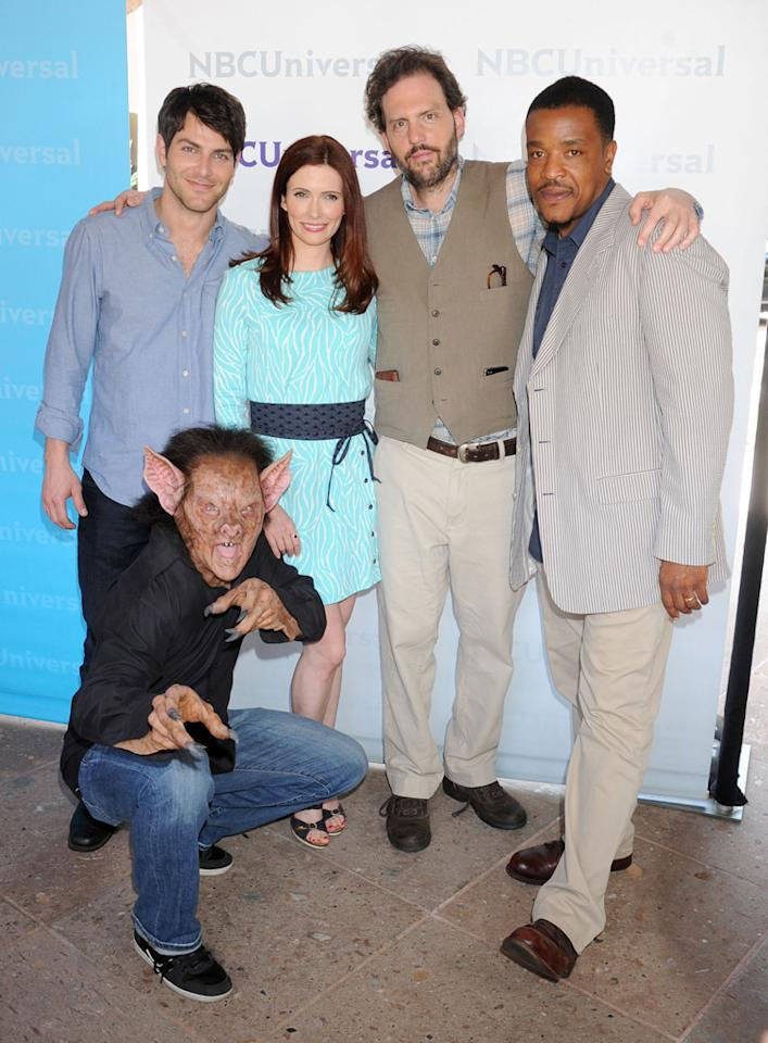 "David Giuntoli, Bitsie Tulloch, Silas Weir Mitchell, and Russell Hornsby (""<a href=""http://tv.yahoo.com/grimm/show/42522"">Grimm</a>"") arrive at NBC Universal's 2012 Summer Press Day at The Langham  Huntington Hotel and Spa on April 18, 2012 in Pasadena, California."