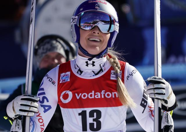 United States' Lindsey Vonn smiles after competing in Cortina D'Ampezzo, Italy, last month in her penultimate skiing weekend. (AP Photo/Giovanni Auletta)