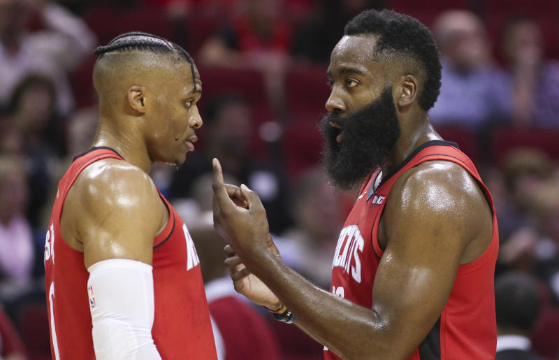 Either Russell Westbrook or James Harden remained on the court the entire night Thursday. (Thomas B. Shea/Reuters)