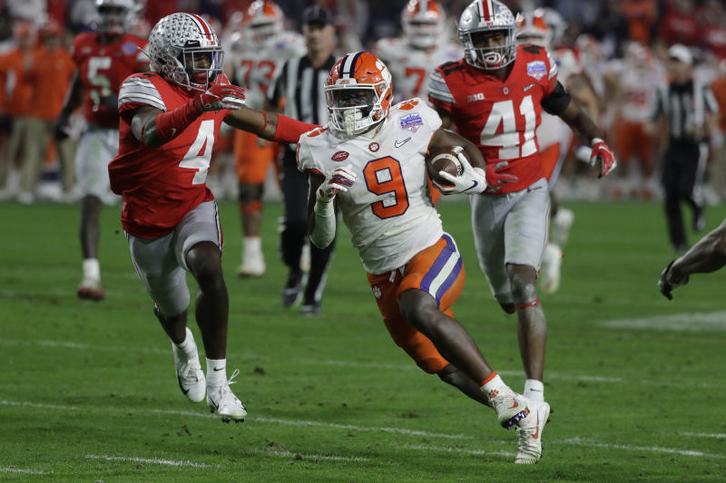 Clemson running back Travis Etienne (9) dazzled against Ohio State in the CFP semifinal. (AP Photo/Rick Scuteri).
