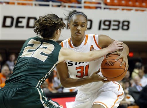 Oklahoma State's Kendra Suttles (31) tries to get around Cal Poly's Caroline Reeves (22) during the women's NCAA college basketball game in Stillwater, Okla., Friday, Nov. 9, 2012. (AP Photo/The Oklahoman, Sarah Phipps)