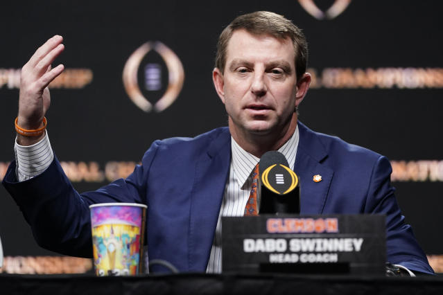 Clemson head coach Dabo Swinney speaks during a news conference for the NCAA College Football Playoff national championship game Sunday, Jan. 12, 2020, in New Orleans. (AP Photo/David J. Phillip)