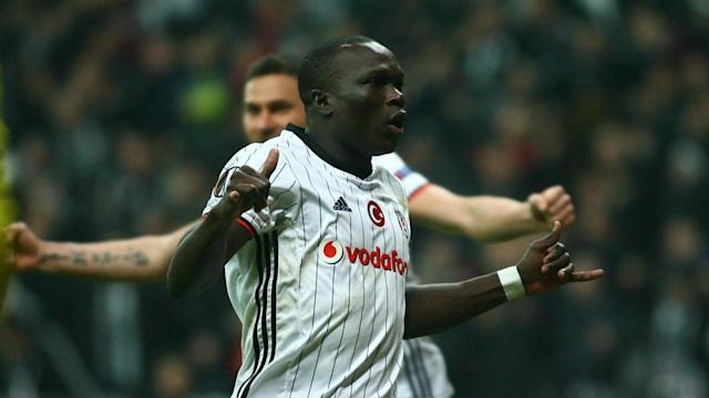 A 4-1 home win ensured Besiktas progressed through their Europa League last-16 tie with Olympiacos despite Vincent Aboubakar's red card.