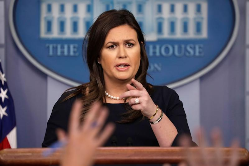 Sarah Sanders speaks during a press briefing at the White House, March 11, 2019. (AP Photo/ Evan Vucci)
