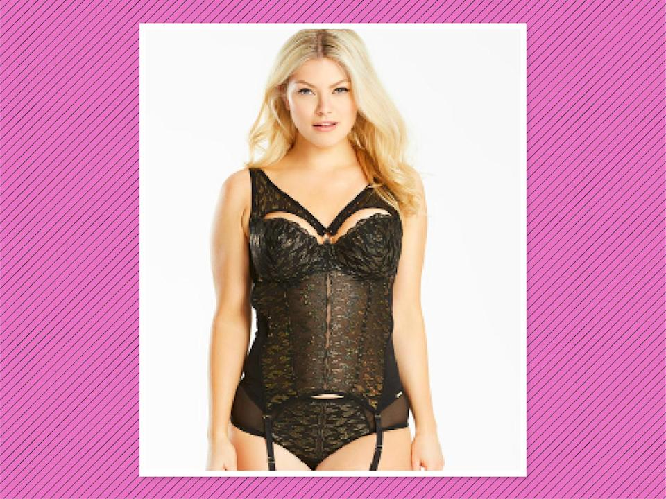 """<p>Figleaves Curve Mistress Black/Gold Basque, $68, <a href=""""https://www.simplybe.com/en-us/products/the-games-mistress-black-gold-basque/p/HP501#v=color%3AHP501_BLACK%2FGOLD%7C"""" rel=""""nofollow noopener"""" target=""""_blank"""" data-ylk=""""slk:Simply Be"""" class=""""link rapid-noclick-resp"""">Simply Be</a> (Photo: Simply Be) </p>"""