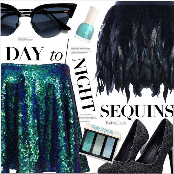 sequins and feather