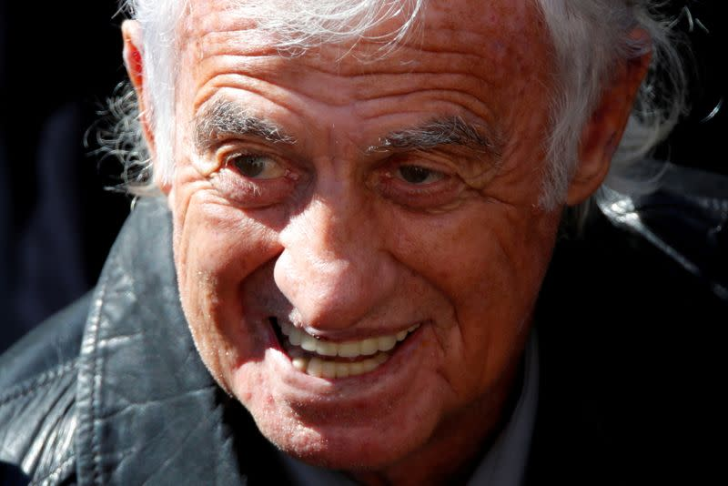 FILE PHOTO: Actor Jean-Paul Belmondo attends a national tribute for late singer Charles Aznavour during a ceremony at the Hotel des Invalides in Paris