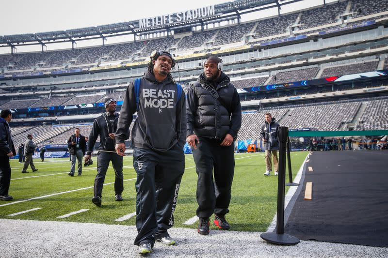 Seattle Seahawks running back Marshawn Lynch walks off the field at the MetLife Stadium during their NFL Super Bowl XLVIII walk-through in East Rutherford, New Jersey