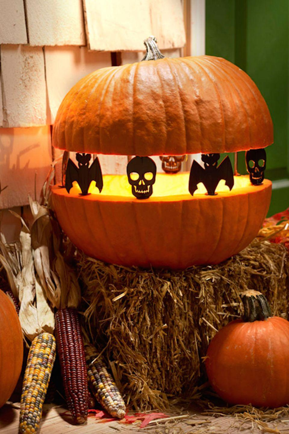 "<p>Make trick-or-treaters do a double take with this creepy pumpkin design.</p><p><strong>Get the tutorial at <a href=""https://plaidonline.com/blog/october-2014/create-some-spook-tacular-pumpkins"" rel=""nofollow noopener"" target=""_blank"" data-ylk=""slk:Plaid"" class=""link rapid-noclick-resp"">Plaid</a>. </strong></p>"