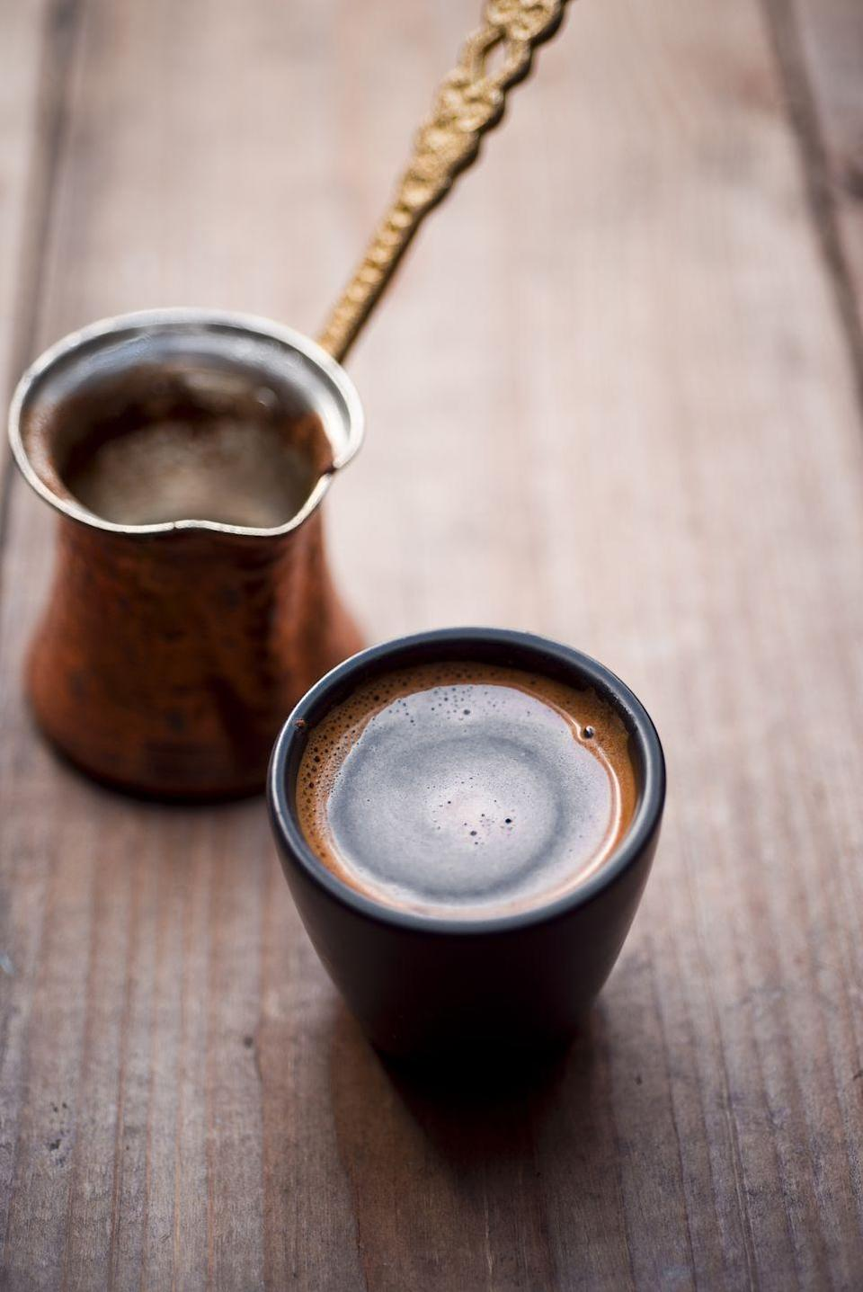 "<p>Although it has different names and variations throughout North Africa, Eastern Europe and the Middle East, Turkish coffee is typically prepared unfiltered with extra finely ground coffee and ground cardamom. This warm, spiced coffee is a great alternative to syrup-flavored drinks in the autumn and winter. </p><p><strong>Pro tip: </strong>The grounds and water are traditionally heated in an ibrik, but the recipe can be adapted to suit a saucepan.</p><p><em><a href=""https://go.redirectingat.com?id=74968X1596630&url=https%3A%2F%2Fwww.illy.com%2Fen-us%2Fcoffee%2Fcoffee-preparation%2Fhow-to-make-turkish-coffee&sref=https%3A%2F%2Fwww.goodhousekeeping.com%2Ffood-recipes%2Fg35012036%2Fbest-coffee-recipes%2F"" rel=""nofollow noopener"" target=""_blank"" data-ylk=""slk:Get the recipe for Turkish Coffee from Illy »"" class=""link rapid-noclick-resp"">Get the recipe for Turkish Coffee from Illy » </a></em></p>"