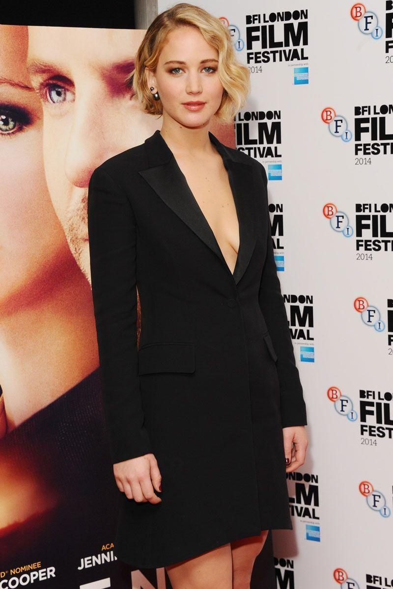 <p>There's no chicer version of the LBD than the tuxedo dress—and J.Law sports the look flawlessly at the premiere of <em>Serena </em>in 2014.</p>