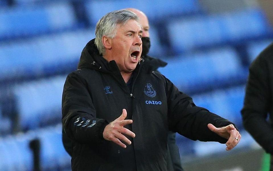 Everton coach Carlo Ancelotti cannot hide his frustration on yet another humbling match at home - SHUTTERSTOCK