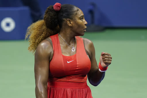 Serena Williams, of the United States, reacts after beating Kristie Ahn, of the United States, during the first round of the US Open tennis championships, Tuesday, Sept. 1, 2020, in New York. (AP Photo/Seth Wenig)